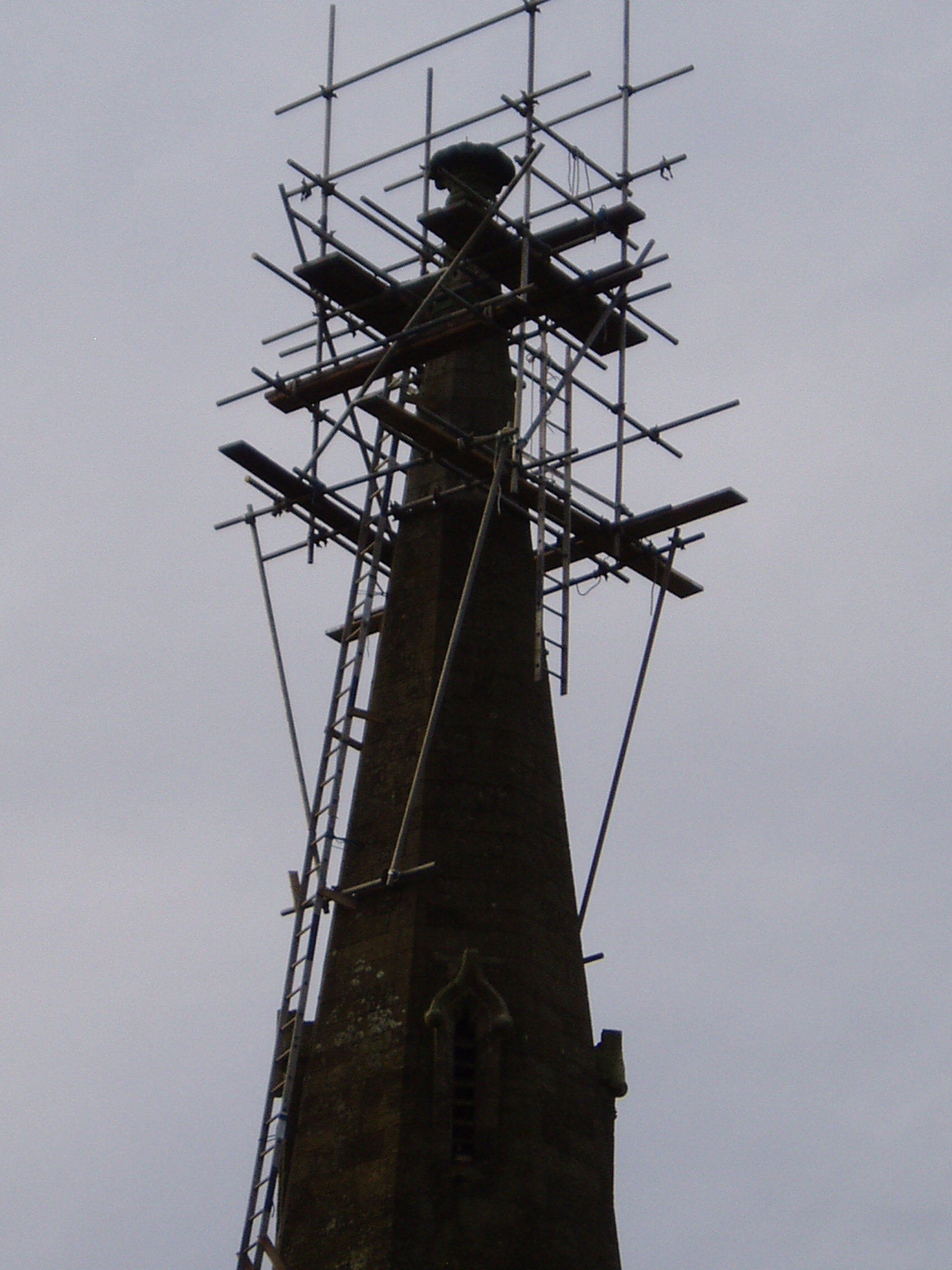 Urgent repair work to the top of the spire and weathervane.
